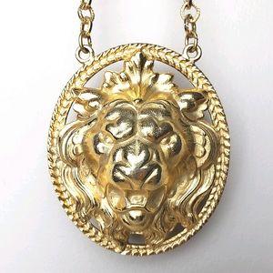 Vintage Napier Lion Medallion Pendant Necklace